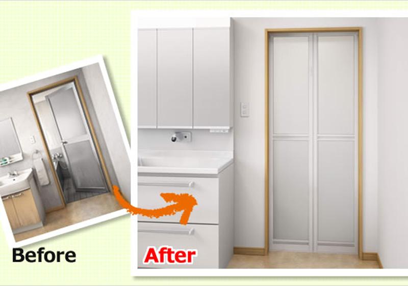 お風呂のリフォーム(浴室2枚折ドア)